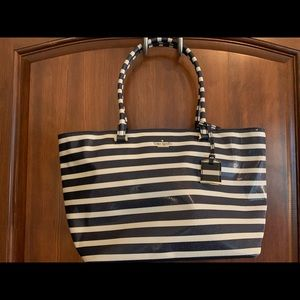 Kate Spade Lane handbag, navy and white